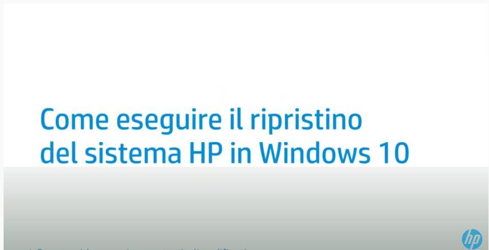 Come eseguire il ripristino del sistema HP in Windows 10